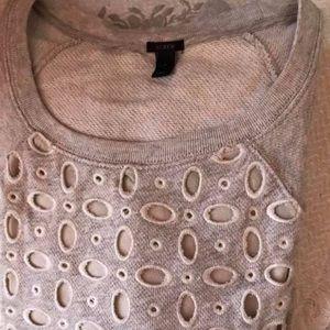 JCrew Women's Gray Eyelet Sweatshirt